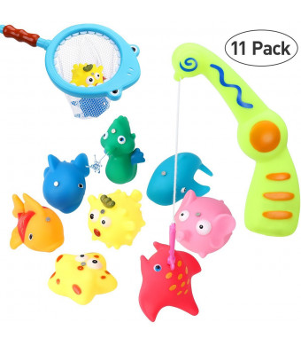iBaseToy Bath Toy Fishing Game - Catch Cute Fish in The Tub with Magnetic Fishing Rod - Includes 8 Fish, Fishing Rod, Net and Storage Bag