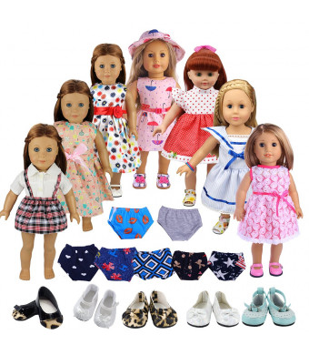 """Mylass Lot 13 items Doll Clothes for American Girl Include 7 Outfits + 3 Shoes +3 Underwear, Fits 18"""" Toys Dolls"""