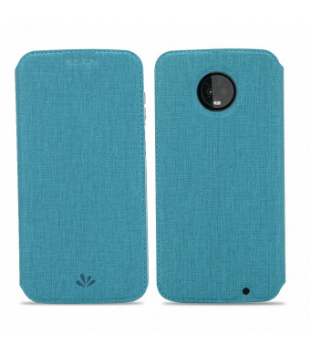 Moto Z3 Play Case, Wallet Case Flip Folio Magnetic Cover Stand Kickstand Card Slots Holders Bumper PU Leather Soft TPU Slim Fit Anti-Scratch Protective Shell Skin Protector for Motorola Z3 Play - Blue