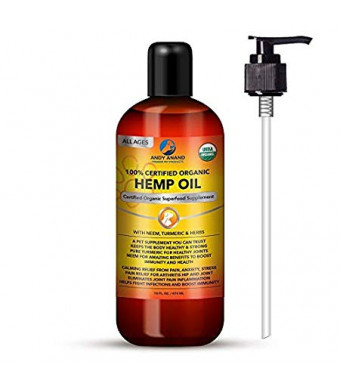 Andy Anand Hemp Oil for Pets- Certified Organic-Anxiety Relief, Calming, and Joint Health, Immunity Support, Hot Spot, for Dry Skin, with Neem, Turmeric and Herbs- 16 OZ Grown in The USA.