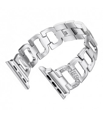 UKCOCO Stainless Steel Strap for Apple Watch Band Rhinestone Diamond 38mm Smart Watch Metal Band for iWatch (Silver)