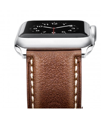 Leather Band for Apple Watch 44/42mm, Benuo Premium Genuine Leather Strap, Classic Bracelet Replacement with Secure Buckle for Apple Watch Series 4/3/2/1/Edition/Sport 44/42 mm (Dark Brown)