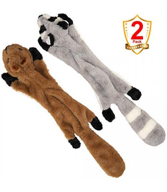 Dog Chew Toys for Large Dogs, Stuffless Dog Chew Toys with Stuffed Free Plush Squeaky Squirrel and Raccoon Animal Dog Toys 2Pack-24Inch