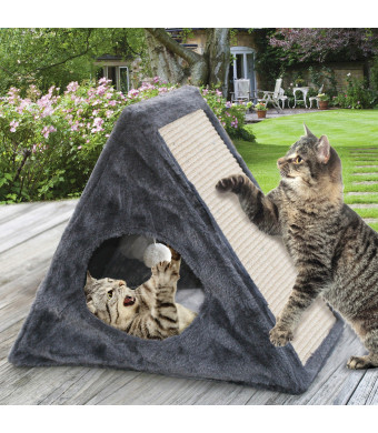 Etna Indoor/Outdoor Foldable Cat Condo - Collapsible Plush Built-In Scratch Pad and Toy