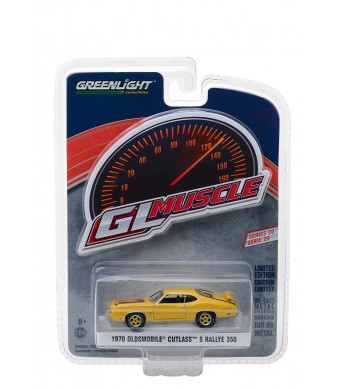 1970 Oldsmobile Cutlass S Rallye 350 Yellow with Black Stripes Greenlight Muscle Series 20 1/64 Diecast Model Car by Greenlight 13210 C