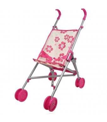 Umbrella Doll Stroller - My First Doll Stroller for Kids, Foldable Carriage with Swivel Wheels and Handles