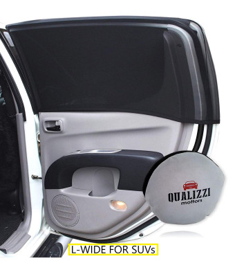 """L-Wide/Car Sun Shades That Fit Most of SUV's Windows Up to 48""""W x 20""""H at Maximu Stretch. See Through Stretchy Mesh Sunshade, Back Seat Bugs/Dust Screen. Covers Full Windows. 2-Pck"""