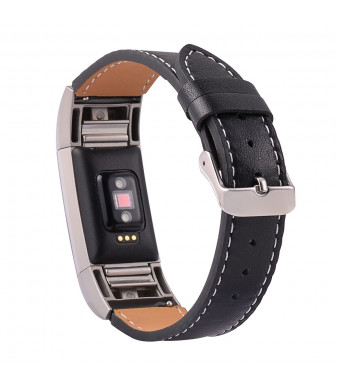 for Fitbit Charge 2 Smartwatch Strap with Metal Adapter Classic Genuine Leather Watch Band Wristband