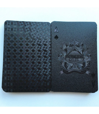 Coolbuy Black Plastic Waterproof Playing Cards Poker Cards Deck