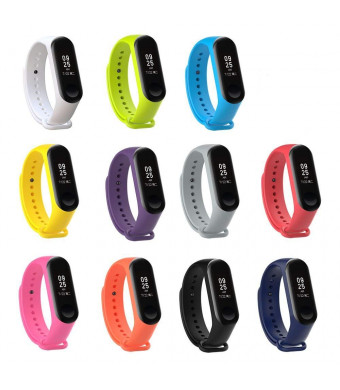 XIHAMA Watch Strap for Xiaomi mi Band 3, Soft Silicone Replacement Band Fitness Sports Activity Bracelet Wristband with Clasp for Xiaomi Mi Band 3 (11PCS)