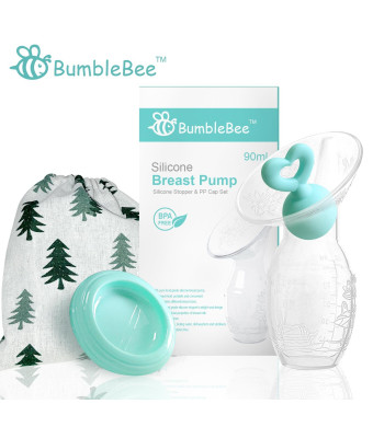 Bumblebee Manual Breast Pump with Breastfeeding Milk Saver Stopperand lid in Gift Box Breastpump 100% Food Grade  Silicone bpa PVC and Phthalate Free