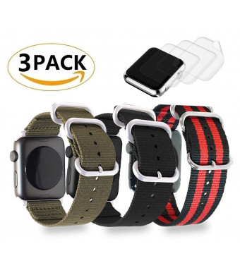 (3 Pack) FR Woven Nylon Wrist Strap 42mm Replacement Band Classic Square Stainless Steel Buckle Apple Watch iWatch Series 3 2 1,Sport, 3xScreen Protector As Gift