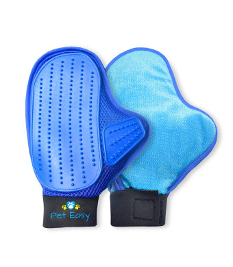 Pet Grooming Glove + Reversible Lint Brush - Deshedding Glove Pet Hair Remover for Furniture and Bath | Cat and Dog Hair Removal Mitt for Shedding | Gentle Grooming Dog Brush Tool for Face Undercoat Fur