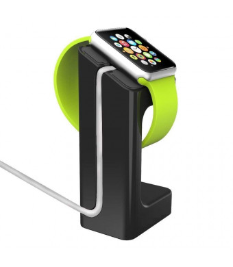Acrylic Solid Color Charging Dock Stand Balanced Charger Standing Post by Tech Express for Apple Watch Series 1, 2 and 3 Cellular LTE/GPS [iWatch Cover] Protective Accessories (Black, 38mm)