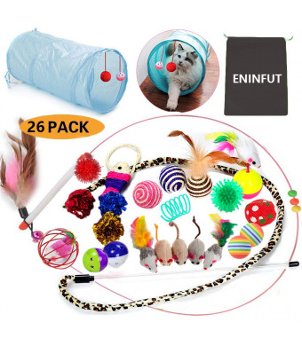 26PCS Cat Toys Kitten Toys Assortments, 2 Way Tunnel, Variety Pack for Mice, Bell Crinkle Balls, Interactive Feather Wand, Cat Teaser Toy and Spring, Cat Toys Set for Cat, Puppy, Kitty, Kit (Cat toys)