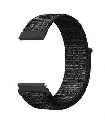 Hollyfun Band for Galaxy Watch 42mm and Gear Sport and Gear S2 Classic 20mm Quick Release Nylon Sport Loop Smartwatch Replacement Strap Bands with Adjustable Closure for Men and Women (Black)