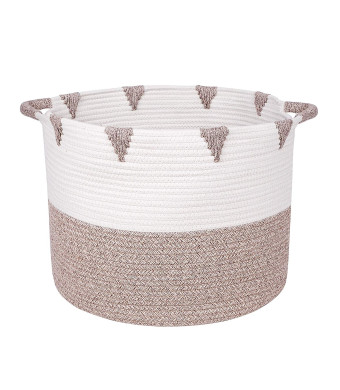 Beautiful Woven Storage Basket by We Care Vida- Great Housewarming Idea for Homeowner - Perfect Blanket Basket for Your Living Room and Kids' Toy Storage Made From Natural Cotton Rope (Gold)
