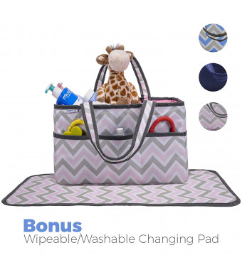Diaper Caddy, Nursery Organizer: Pink and Grey Chevron, Best Portable Washable Diaper Caddy Organizer with Large Storage Space. Free Changing Pad (Pink, Large)