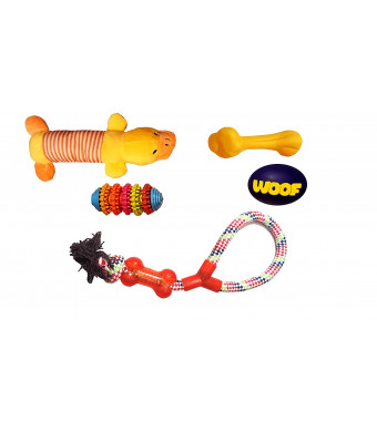 Dog Toys Set of 5- Squeaky Toys and Chewy Toys and Gum Toys. Fun Toys.