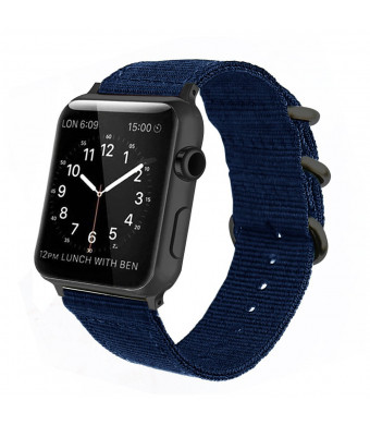 Dark Blue Nylon Apple Watch Band 38mm/42mm Nato iWatch Band Replacement Wrist Woven Strap with Black Steel AdaptersandBuckle for Apple watch Series 3,2,1 Sport Nike+ MenandWomen (38mm)