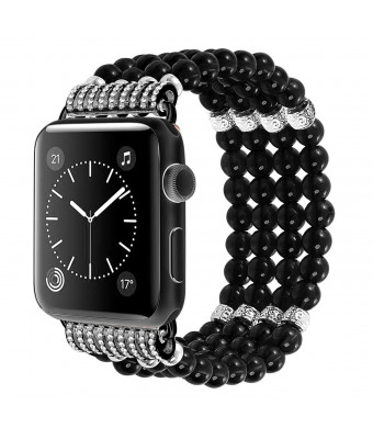 HenMerry Replacement for Apple Watch Strap Fashion Pearl Stretch Jewelry Pearl Bracelet Replacement for iWatch Strap Wristband Women Girls