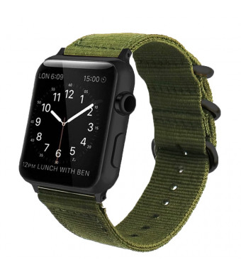 Green Nylon Compatible Apple Watch Band 38mm/42mm NATO Replacement Wrist Woven Strap with Black Steel AdaptersandBuckle Compatible iWatch Band Series 3,2,1 Sport Nike+ MenandWomen