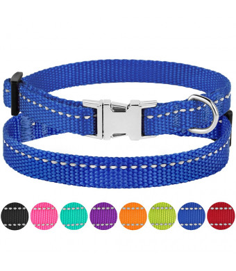 CollarDirect Reflective Dog Collar Buckle Adjustable Safety Nylon Collars Dogs Small Medium Large Pink Black Red Blue Purple Green Orange