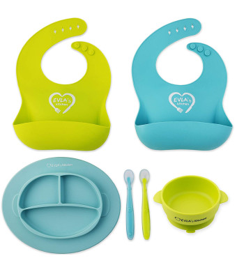 Baby Feeding Set - Silicone Bib Plates Bowls Spoons - Divided Plate Suction Bowl and Soft Spoon Aids Self Feeding - Adjustable Bib Easily Wipe Clean - Spend Less Time Cleaning Up After Toddler/Babies