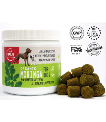 All Natural Multivitamin, Minerals, Amino Acids, Dog Supplement soft treats made with Superfood Moringa - Immune System Boosts - Anti aging - Skin and Coat - Digestive Support - Hip and Joint -Made in USA