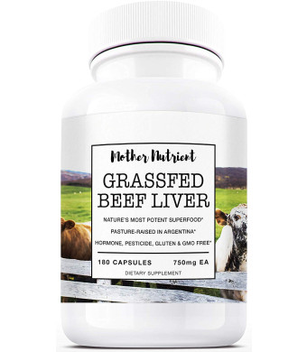 Grass Fed Beef Liver Capsules by Mother Nutrient | Desiccated Liver | Pasture Raised in Argentina | Supplement Rich in Vitamins A and B12, Iron, Protein | 180 Beef Liver Capsules, 45-Day Supply
