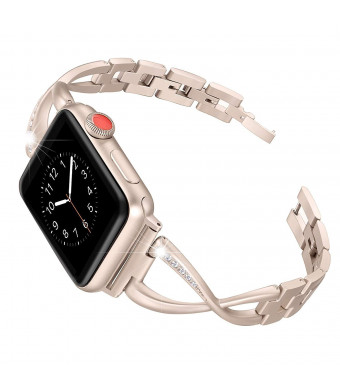 StrongGran Stainless Steel Band Compatible for Apple Watch Band 38mm 40mm Women Iwatch Series 3 2 1 Accessories Metal Wristband X-Link Sport Strap(Pink)