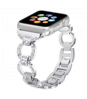 Apple Watch Band Bling Bands for iWatch Band 38mm 42mm Women Stainless Steel Metal Replacement Wristband Sport Strap for Iwatch Series 1/2/3