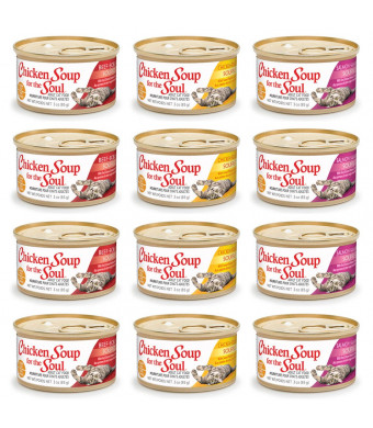 Cedar Crate Market Bundle Chicken Soup for The Soul Souffle Grain Free Canned Wet Cat Food Variety Pack - 3 Ounces Each - 3 Flavors - Chicken, Beef, and Salmon (12 Pack)