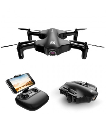 Foldable Drone, Potensic RC Drone with Camera, Optical Flow Positioning Wi-Fi Quadcopter with 120 Wide-Angle Shot -Flight Route Setting, Altitude Hold, Black