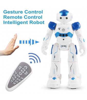 MakerHawk Smart Robot Toys Gesture Sensing Robot Toy Kit, Remote Control RC Programmable Robot Gift for Kid's Companion, Interactive Walking Singing Dancing Gesture Control - Blue