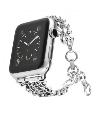 Maxjoy Bling Bands Compatible Apple Watch Band 38mm 40mm, Vintage Chain Jewelry Women Bracelet with Rhinestone Bling for iWatch Series 4/3/2/1 Nike+ Sport Edition Silver