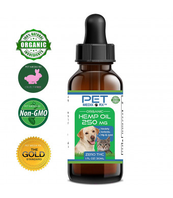 Full Spectrum Hemp Oil for Dogs and Cats :: Hemp Extract :: 250 mg :: All Natural Pain Relief, Stress and Separation Anxiety, Joint Health - Easily Apply to Treats and Calming Chews Organic Hemp Medix