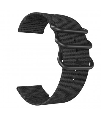 Emibele 22mm Universal Watch Band, Fine Woven Nylon with Stainless Steel Buckle Adjustable Replacement Band for 22mm Sport Strap, Black