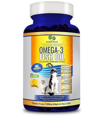 Snappies Petcare Omega 3 Fish Oil for Dogs and Cats - Wild Icelandic Natural Odour Free Liquid Fish Oil Pet Supplement with Vitamin E - More EPA and DHA Than Salmon Oil for Optimal Nutrition/Health