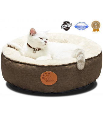 HACHIKITTY Cat Bed Washable Removable Cover Small Medium Dog Bed Fluffy Round Indoor Cat Bed Waterproof Chew Resistant Pet Bed Cuddler