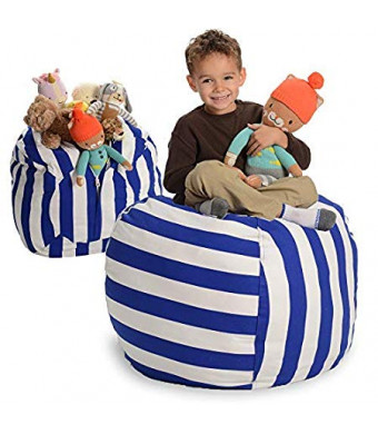 """Creative QT Stuffed Animal Storage Bean Bag Chair - Large Stuff 'n Sit Organization for Kids Toy Storage - Available in a Variety of Sizes and Colors (33"""", Blue/White Stripe)"""