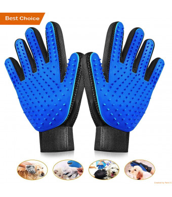 Pet Grooming Gloves - Gentle Pet Grooming Glove Brush - Efficient Deshedding Glove - Gentle De-Shedding Brush - Perfect for Dogs and Cats and Horses with Long and Short Fur