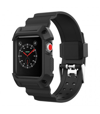 for Apple Watch Band 42mm, Rugged Protective Case and Band Shock Resistant Strap for Apple Watch Series 1/2/3, Black