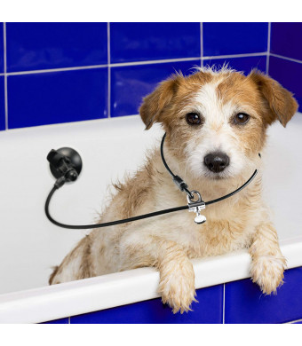 Dog Bathing Suction Tether - Restraint Strap with Collar Keeps Dog in Bathtub or Shower - Any Surface, Any Size Dog