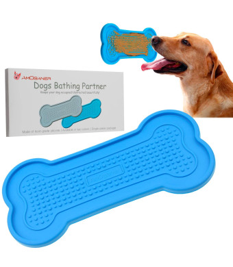 AmOganer Dog Bath Washing Buddy Tub, Food Grade  Silicone Bathing Peanut Butter Partner Pad Gadget for Pet Puppy Dogs