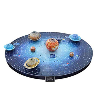 3D Solar System Puzzle Set - Eco-Friendly Educational Space Set with Detailed and Realistic Illustrations - Planet Puzzle Board Game to Enhance Creativity and Space Awareness
