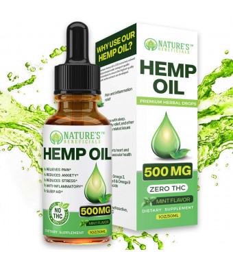 Organic Hemp Oil Extract Drops 500mg - Ultra Premium Pain Relief Anti-Inflammatory, Stress and Anxiety Relief, Joint Support, Sleep Aid, Omega Fatty Acids 3 6 9, Non-GMO Ultra-Pure CO2 Extracted