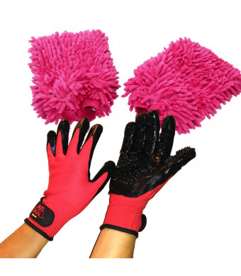 2 Red Dogs Pet Grooming Gloves and Microfiber Bathing Mitts for Deshedding, Bathing, and Massaging Dogs, Cats, Horses