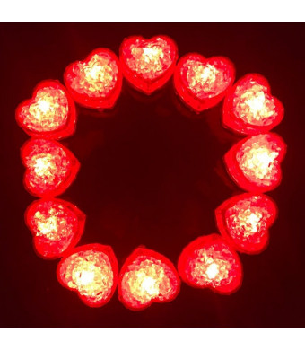 Hongtang 12Pcs Love Heart Liquid Sensor LED Light Up Glow Ice Cubes Molds Party Supplies Decoration Red