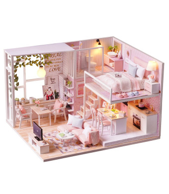 Spilay DIY Miniature Dollhouse Wooden Furniture Kit,Handmade Mini Modern Apartment Model with Dust Cover and Music Box,1:24 Scale Creative Doll House Toys for Children Gift (Tranquil Time) l022